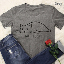 Load image into Gallery viewer, Women's Not Today Cute Slack Cat Printed Funny T-Shirts