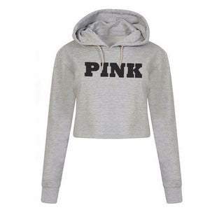 Women's Oversized Hoodies Sweatshirt PINK Cropped Letter Loose Pullover