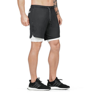 Men's 2 in 1 Joggers Sport Shorts Built-in Pockets Fitness Shorts