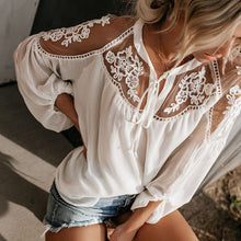 Load image into Gallery viewer, Women's Boho Mesh Lace Hook Flower Lantern Sleeve Loose Chiffon Blouse