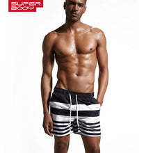 Load image into Gallery viewer, Men's Sport Running Shorts Stitching Stripe Beach Swim Trunk Quick-Drying Shorts