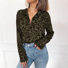 Load image into Gallery viewer, Women's Chiffon Leopard Blouse Long Sleeve Turn Down Collar Shirt