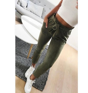 Women's Suede Pants Casual Pencil Pants Fashion Trousers