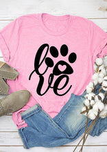 Load image into Gallery viewer, Women's Love Paw Print Graphic T-Shirt