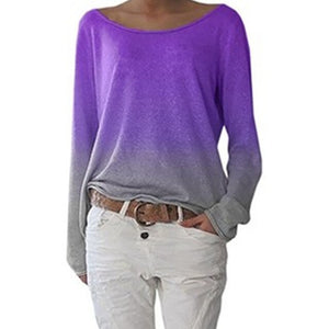 Women's Long Sleeve T-Shirt Gradient Print Fashion Loose Top