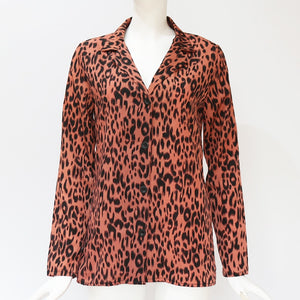 Women's Chiffon Leopard Blouse Long Sleeve Turn Down Collar Shirt