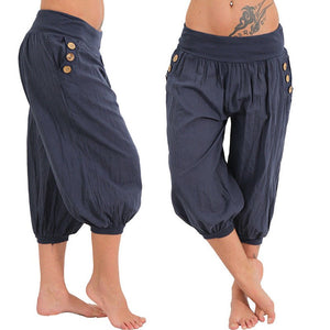 Women's Harem Pants Loose Knee Length Elastic Waist Capri Pants