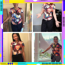 Load image into Gallery viewer, Women's Face Print Ringer Tee Short Sleeve Casual Top