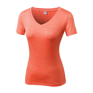Women's Gym Yoga T-Shirt V-Neck Sport Jersey Quick Dry Running Shirt