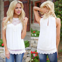 Load image into Gallery viewer, Women's Fashion Lace Sleeveless Top Casual Loose Summer Tops