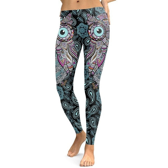 Women's Cool Owl Digital Print Flower Leggings