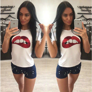 Women's Sequins Lips Round Neck T-Shirt