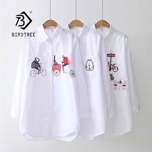 Load image into Gallery viewer, Women's White Shirt Casual Long Sleeve Cotton Blouse with Embroidery