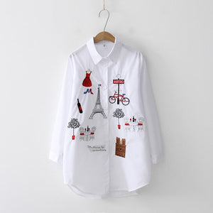 Women's White Shirt Casual Long Sleeve Cotton Blouse with Embroidery