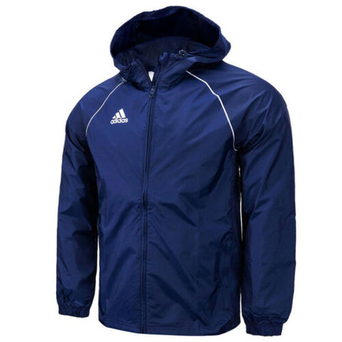Adidas Core 18 Windbreaker Rain Jacket Full Zip Hooded Sportswear Navy CV3694