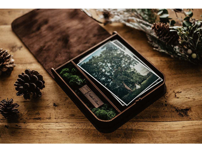 4 x 6 walnut yoga photo box + USB