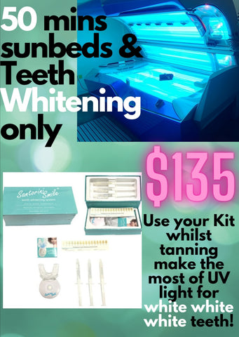 50 mins of sunbed sessions plus teeth whiting kit