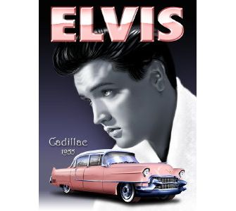 Elvis Pink Cadillac Metal Sign - The Celebrity Gift Company