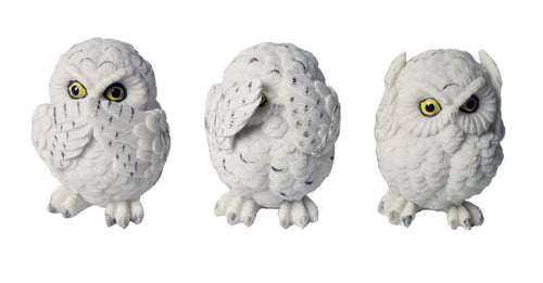 Set Of 3 White Owls - Hear Speak, & See No Evil - 8cm - The Celebrity Gift Company