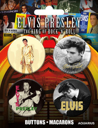 Elvis Presley Button Badge Set - The Celebrity Gift Company
