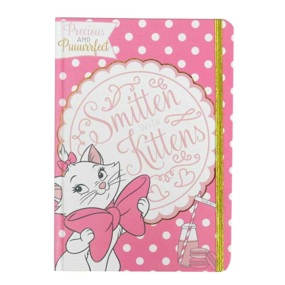 Aristocats Marie A5 160 Page Hardback Notebook with Gold Strap and Charm - The Celebrity Gift Company