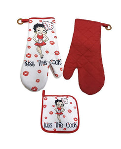 Betty Boop Oven Mitt & Pot Holder - Kiss the Cook - The Celebrity Gift Company