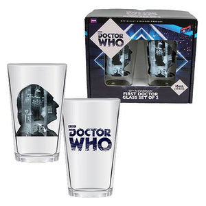 Doctor Who Anniversary First Doctor 16 oz. Glass Set of 2 - The Celebrity Gift Company