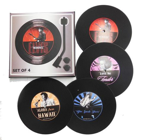 Elvis Presley Coasters Records Set of 4 Boxed - The Celebrity Gift Company