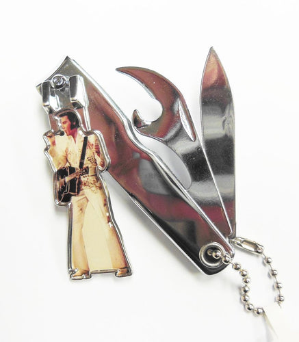 Elvis Presley Key Chain/Nail Clippers - White Jumpsuit - The Celebrity Gift Company