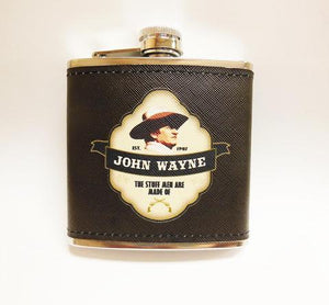 John Wayne Leather Hip Flask Shield - 5 OZ - - The Celebrity Gift Company
