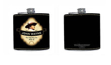 Load image into Gallery viewer, John Wayne Leather Hip Flask Shield - 5 OZ - - The Celebrity Gift Company