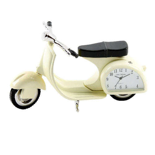 Cream Vespa Metal Miniature Clock - The Celebrity Gift Company