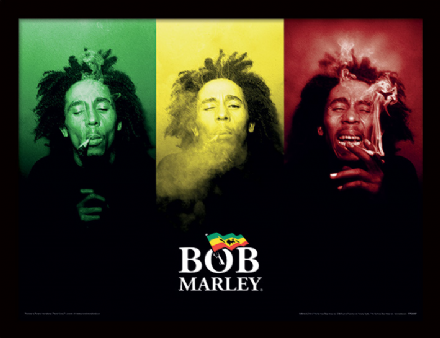 Bob Marley tricolour smoking Print by  The Celebrity Gift Company
