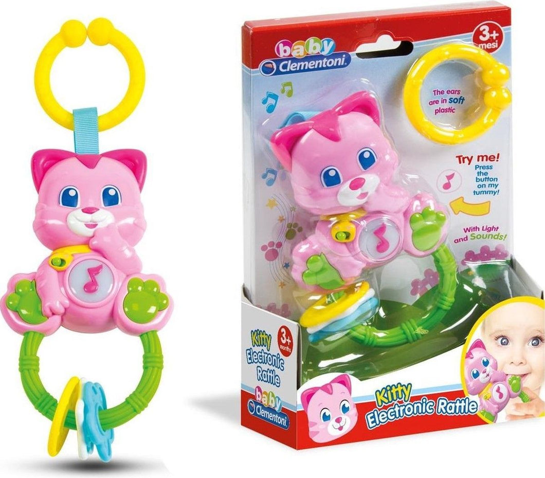 CLEMENTONI KITTY ELECTRONIC RATTLE WITH LIGHT AND SOUND - The Celebrity Gift Company