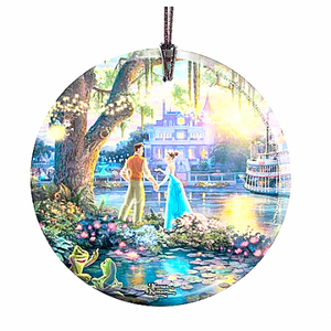Disney Princess and the Frog by Thomas Kinkade StarFire Prints Hanging Glass Print - The Celebrity Gift Company