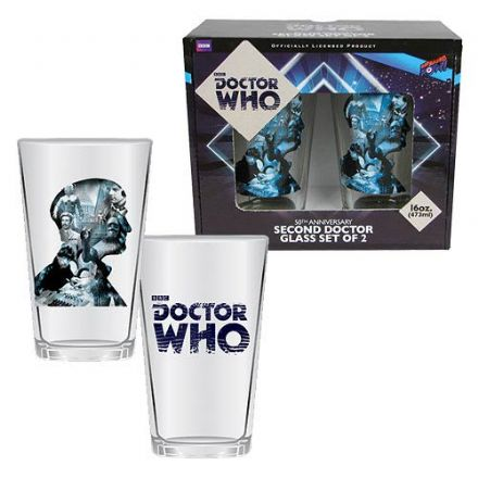 Doctor Who Anniversary Second Doctor 16 oz. Glass Set of 2 - The Celebrity Gift Company