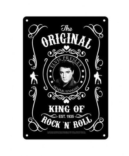 Elvis Metal Sign Black & White - The Celebrity Gift Company