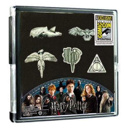 Harry Potter Pewter Pin 5-Pack, San Diego Comic-Con Exclusive in Display - The Celebrity Gift Company