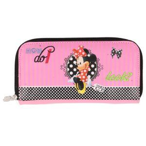 Minnie Mouse Pink/Red Faux Leather Zip Up 20cm Purse - The Celebrity Gift Company