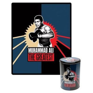 Muhammad Ali Fleece Throw in Collectable Tin - The Celebrity Gift Company