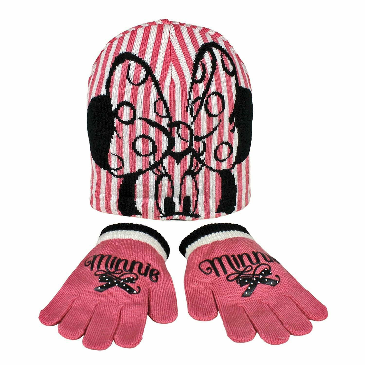 Disney Minnie Mouse Child/Girls Winter 2 Piece Pink & White Hat And Gloves Set - One size by  The Celebrity Gift Company