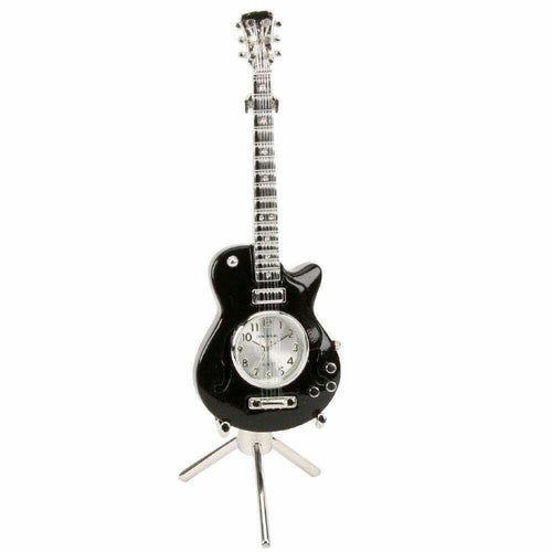 Miniature Guitar Clock - Black - The Celebrity Gift Company