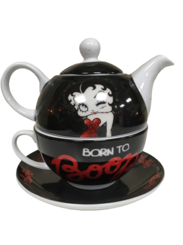 Official Licensed Betty Boop Tea For One Teapot & Cup, Born To Boop - The Celebrity Gift Company