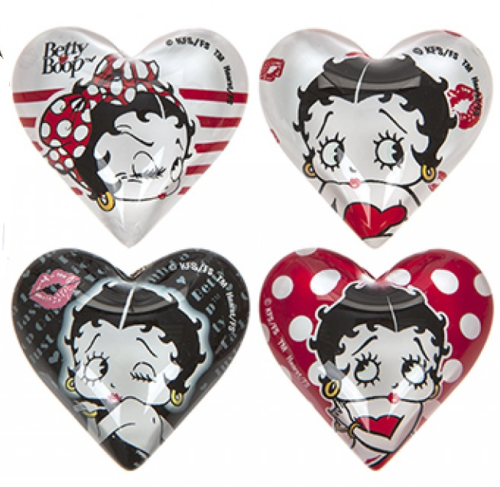 Set of 4 Glass Heart Shaped Betty Boop Magnets - The Celebrity Gift Company