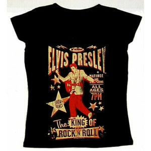 Ladies Official Licensed Elvis Presley King of Rock T-Shirt - The Celebrity Gift Company