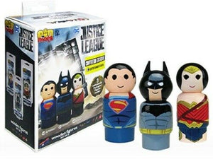 Justice League Pin Mate Wooden Figure Set of 3 - Convention Exclusive - The Celebrity Gift Company