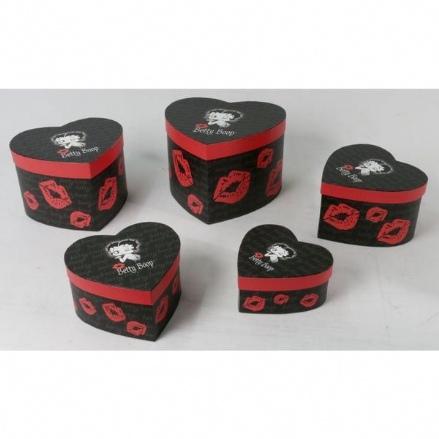 Set Of 5 Betty Boop Heart Boxes, Jewellery Cleaning & Care by The Celebrity Gift Company