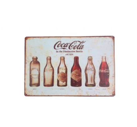 Vintage Style Coca Cola Advertising Tin Sign, 12 x 8