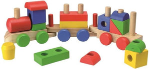 Beluga Wooden Block Train (18-Piece, Multi-Colour) - The Celebrity Gift Company