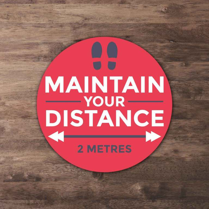 Maintain Your Distance Floor Stickers from Paddle Print